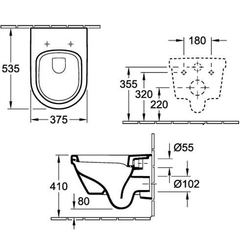 v b combipack omnia architectura tiefsp l wc sp lrandlos 5684r0 c mit wc sitz ebay. Black Bedroom Furniture Sets. Home Design Ideas