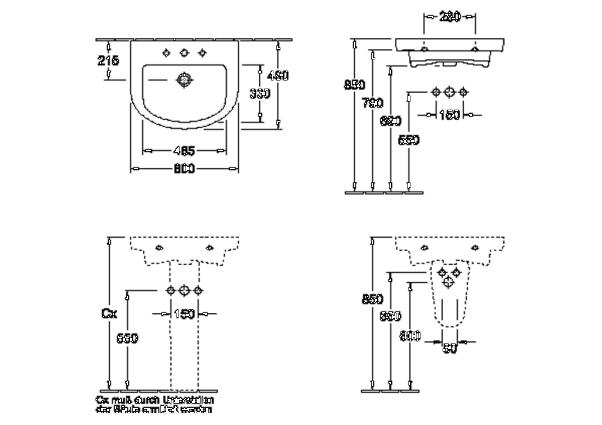 v b villeroy boch subway 2 0 waschtisch 60 x 49 cm. Black Bedroom Furniture Sets. Home Design Ideas
