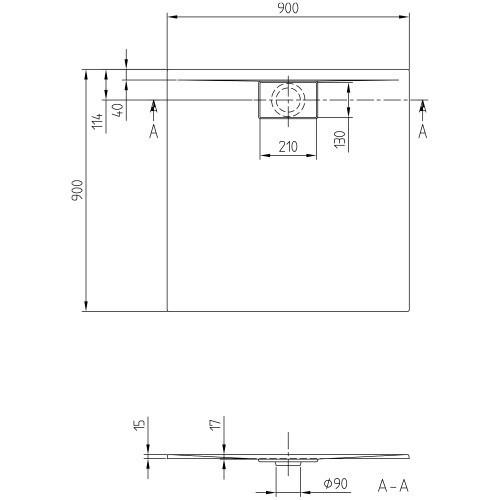 villeroy boch duschwanne architectura metalrim 90 x 90 gera. Black Bedroom Furniture Sets. Home Design Ideas